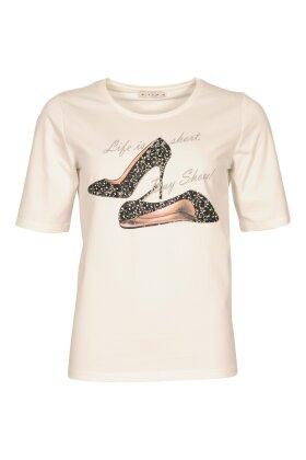 MICHA - T-shirt Med Print Off White