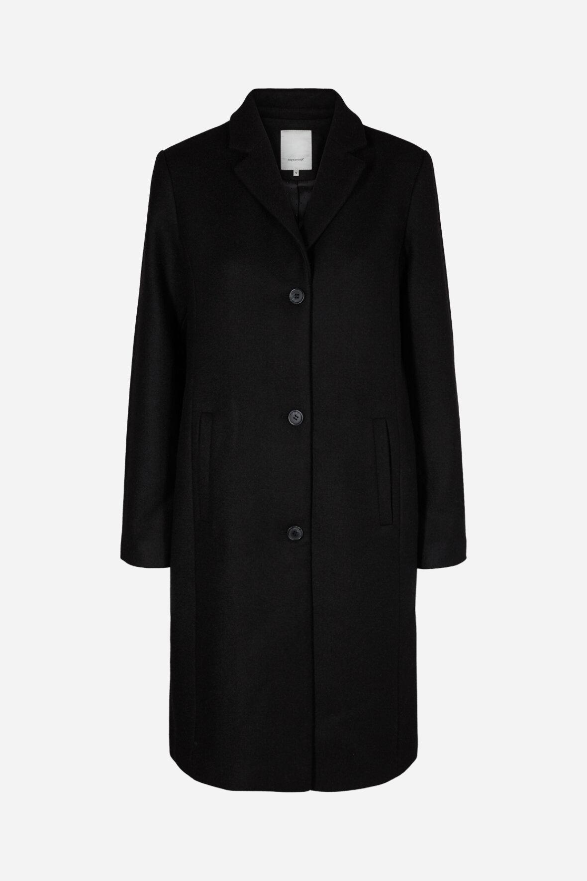 SoyaConcept Asta uld jakke klassisk langt snit i sort til