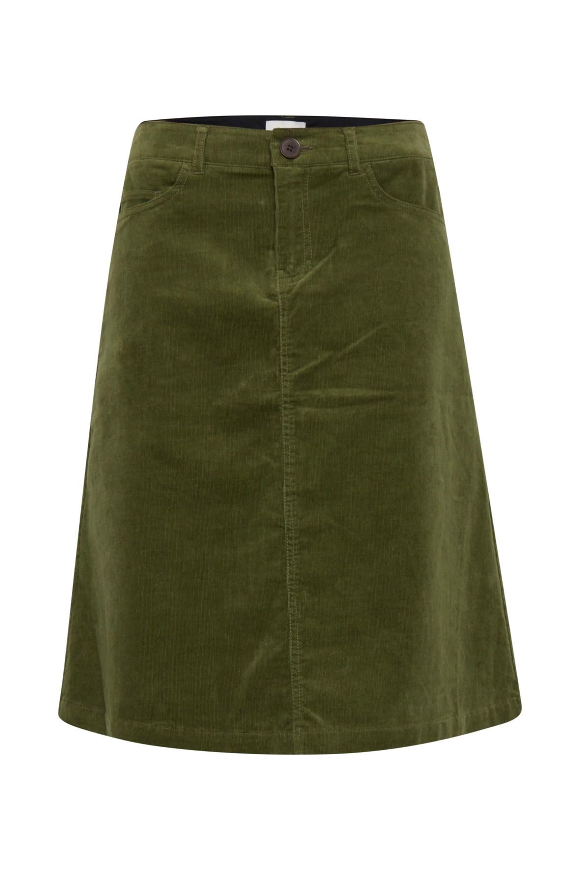 Pulz Kelly nederdel i grøn fløjl med fin struktur Hos Lohse