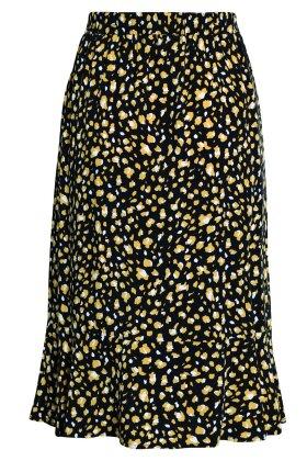 BRANDTEX - Sort Nederdel m Gult Print