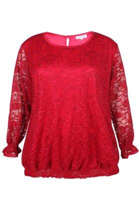 ZHENZI - Kaus Rød Blonde Bluse