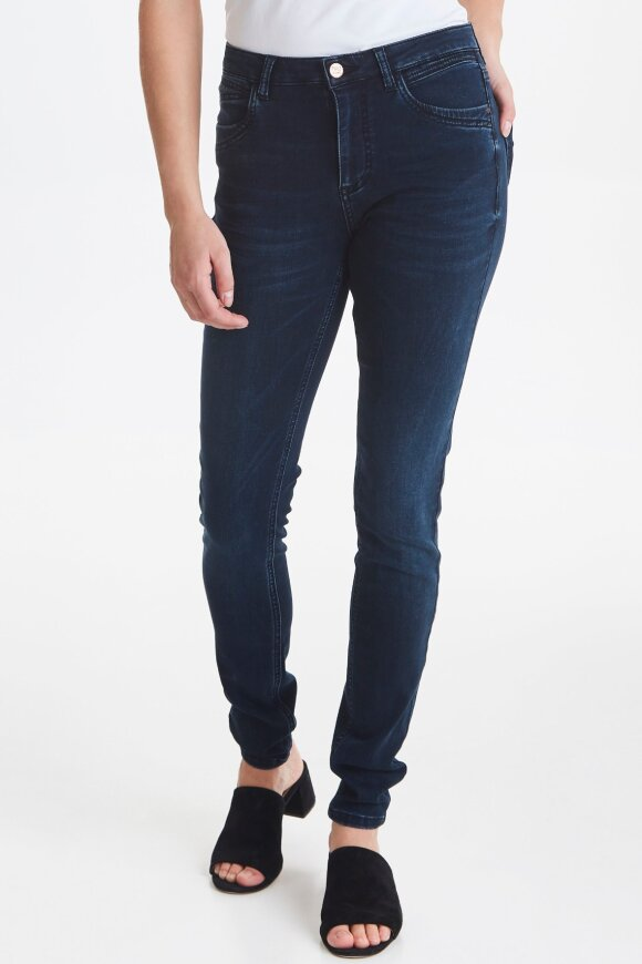 PULZ - Emma High Waist Skinny Jeans Mørk Slidt Denim