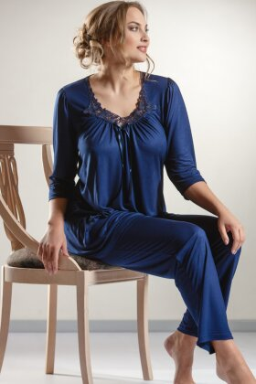 PLAISIR - Viskose Pyjamas Mørkeblå