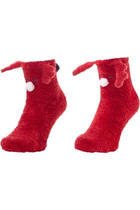 PASTUNETTE - Red Cosy Socks - Røde Rensdyr Sokker