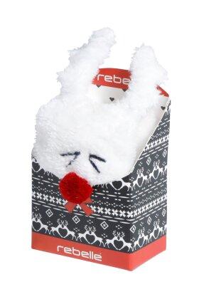 PASTUNETTE - White Cosy Socks - Hvide Rensdyr Sokker