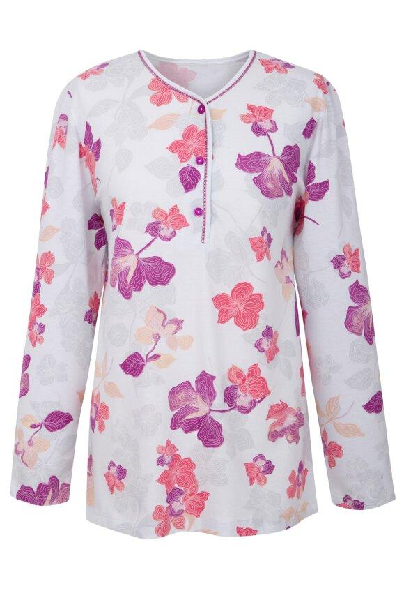 NATURANA - Pyjamas Sæt Hvid & Lyslilla