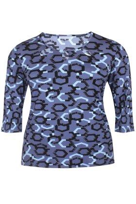 ZHENZI - Garm Grafisk - Bluse - Blå