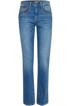 PULZ - Karolina Fit Jeans - HighW Straight Leg - Medium Blue Denim