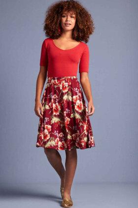 KING LOUIE - Serena Skirt Colada - Blomstret Bordeaux
