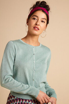 KING LOUIE - Cardi Roundneck Organic Lapis - Mint