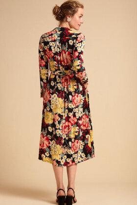 KING LOUIE - Rosie Midi Dress Carioca - Sort Blomstret