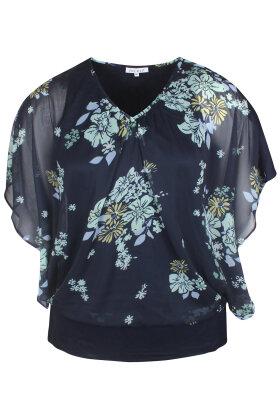 ZHENZI - Vaga Bluse - Blomstret Print - Mørkeblå