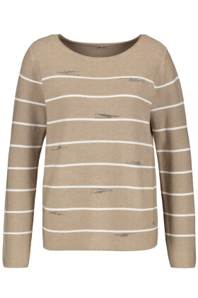 GERRY WEBER - Casual Stribet Strik - Sand