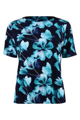 BASSINI - Fest T-shirt - Blomster Print - Marine