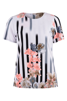 BASSINI - Fest T-shirt - Striber & Blomster - Sort