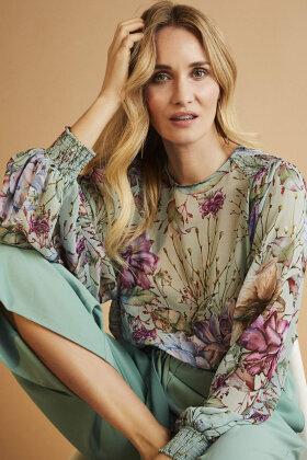 MOLLY-JO - Transparent Bluse - Med Print - Mint