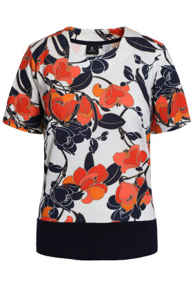 BRANDTEX - T-shirt - Floralt Print - Marine