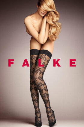 FALKE - Ravishing 25 D Stay Ups - Selvsiddende - Sort