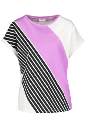 GERRY WEBER - Skråstribet T-shirt - Multifarvet Sort