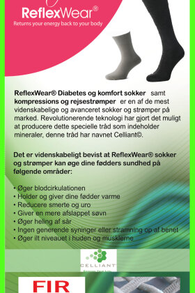 REFLEXWEAR - Diabetes & Komfort - Celliant - Tynd Knæhøj Model - Sort