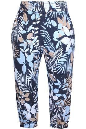 ZHENZI - Hoff Elastiske Bukser - Floralt Print - Mørkeblå