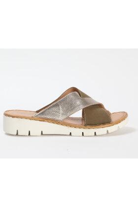 RELAXSHOE - Slip-in Sandal - Oliven-Khaki- Sølv