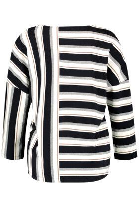 GERRY WEBER - Stribet T-shirt - Casual - Sort