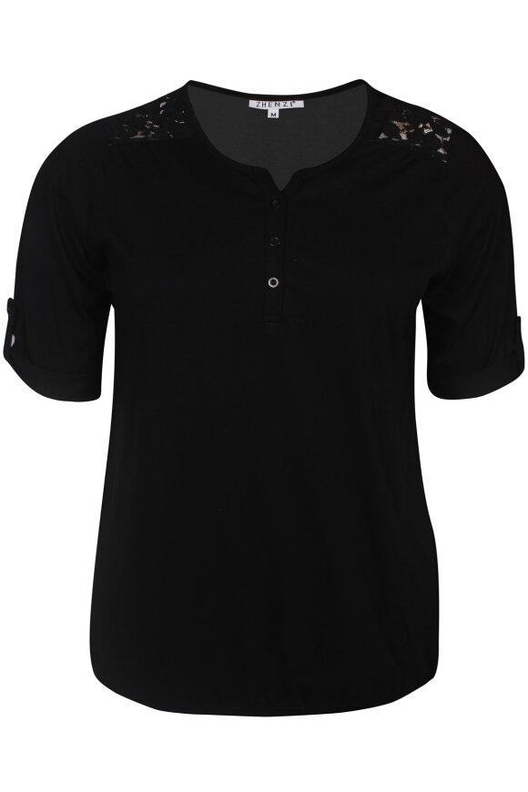 ZHENZI - Agna 811 -  Basis T-shirt - Sort