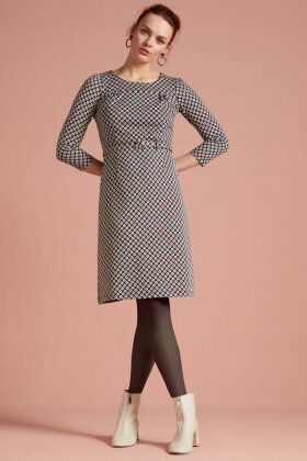 KING LOUIE - Polly Dress Long Tate - Blomstret Kjole A-facon - Sort