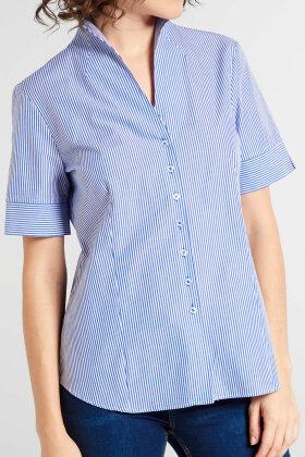 ETERNA - Stribet Skjorte - Figur - Chalice Krave - Blå