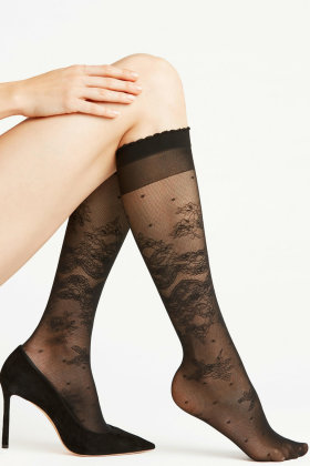 FALKE - Charleston 20 Denier - Knee-high Socks - knæstrømpe - Sort