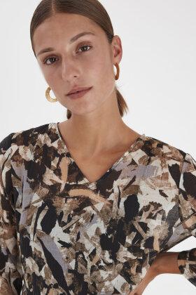PULZ - Nicola Dress - Print Kjole - Sort