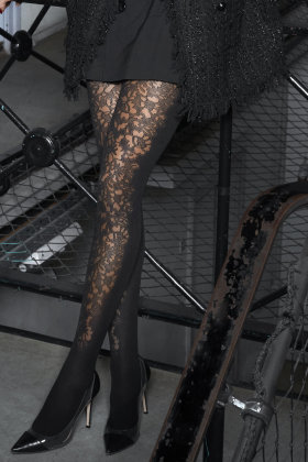 HYPE the DETAIL - Tights Front Lace 50D - Blomster i Front - Sort
