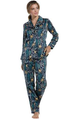 PASTUNETTE - Orientalsk Satin Pyjamas - Marine