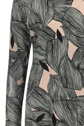 NANSO - Kort Natkjole - Grafisk Print - Sort