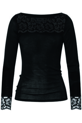 MEY - Wool & Lace - Uld Top - Blonde Top - Sort