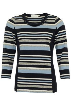 MICHA - Stribet Bluse - Mørkeblå