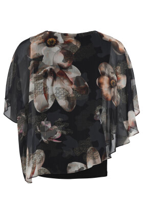 MOLLY-JO - Blomstret Chiffon Bluse - Sort