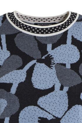 SIGNATURE - Strik - Floralt Tema - Mørkeblå