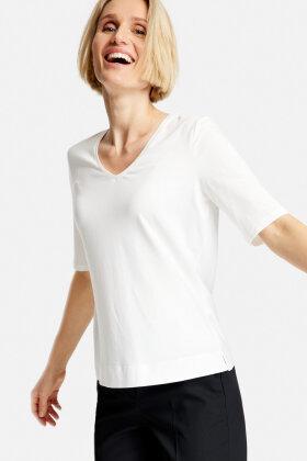 GERRY WEBER - T-shirt - V Hals - Halve Ærmer - Off White