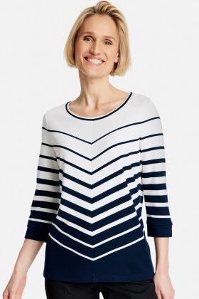 GERRY WEBER - Jersey Bluse - Diagonalstribet - Mørkeblå