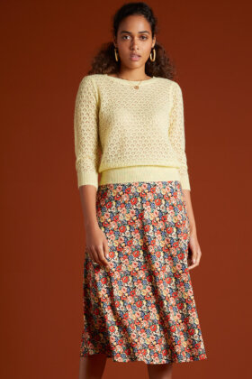 KING LOUIE - Juno Midi Skirt Santa Rosa - Blomstret Nederdel - Sort