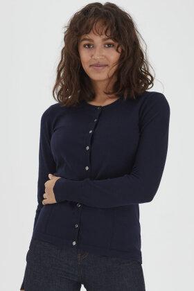 PULZ - Sara Strik Cardigan - Mørkeblå