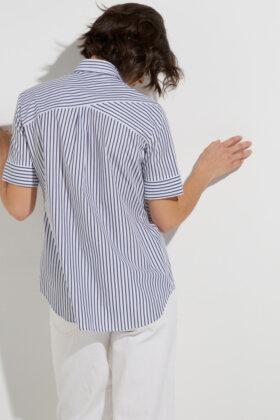 ETERNA - Kortærmet Skjorte - Lyseblå Stribet