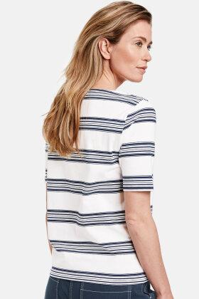 GERRY WEBER - Stribet T-shirt - Økologisk Bomuld - Mørkeblå