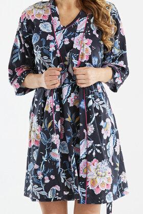 DAMELLA - Blomstret Kåbe - Mørkeblå