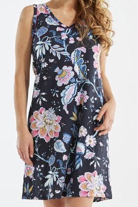 DAMELLA - Blomstret Natkjole - Mørkeblå