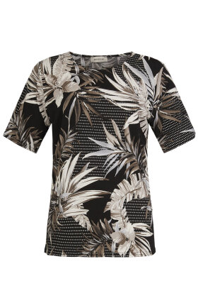 BASSINI - Festbluse - All-over Print - Sort