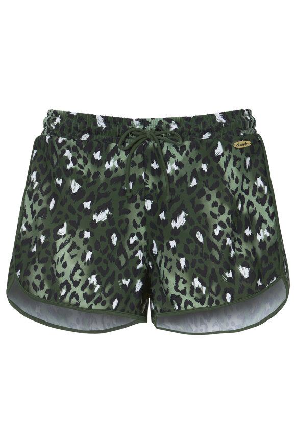 DAMELLA - Badeboxer Shorts - Dyreprint - Oliven Grøn