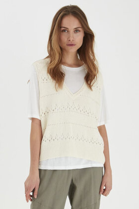PULZ - Pz Therese Pullover - Strik Vest - Off White